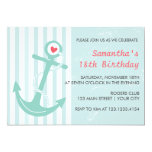 Girly Nautical Anchor Birthday Party Invitation