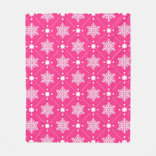 Girly Pink and White Snowflakes Christmas Pattern Fleece Blanket