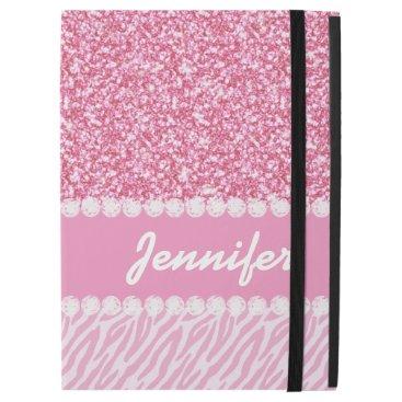 "Girly, Pink Glitter, Zebra Stripes, Your Name iPad Pro 12.9"" Case"