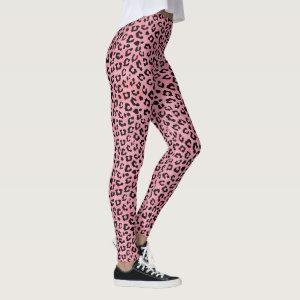 Girly Pink Leopard Spots Print Leggings