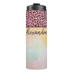 Girly Pink Leopard Spots Watercolor Add Name Thermal Tumbler