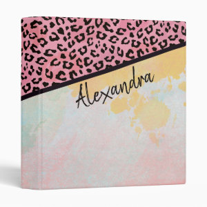 Girly Pink Leopard Watercolor Add Name 3 Ring Binder