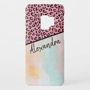 Girly Pink Leopard Watercolor Add Name Case-Mate Samsung Galaxy S9 Case