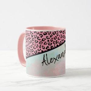 Girly Pink Leopard Watercolor Add Name Mug