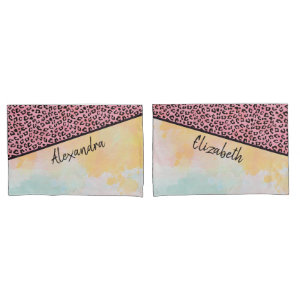 Girly Pink Leopard Watercolor Add Names Match Pillow Case
