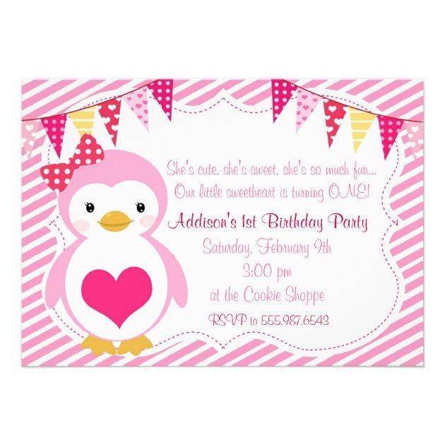 girly sweetheart penguin valentine