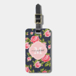 Girly Vintage Roses Floral Monogram Luggage Tag