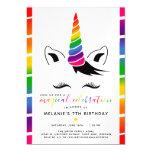 Glam Rainbow Unicorn Birthday Party Magnetic Invitation