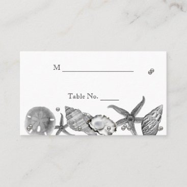 Glamorous Beach in Silver Wedding Place Cards