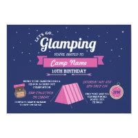 Glamping Camping Navy Pink Girl's Invitation