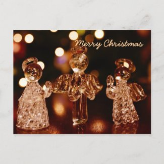 Glass Christmas Angels Postcard