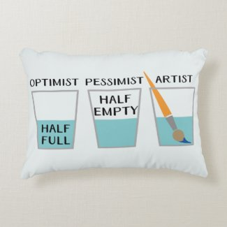 Glass Half Full Funny Meme Accent Pillow