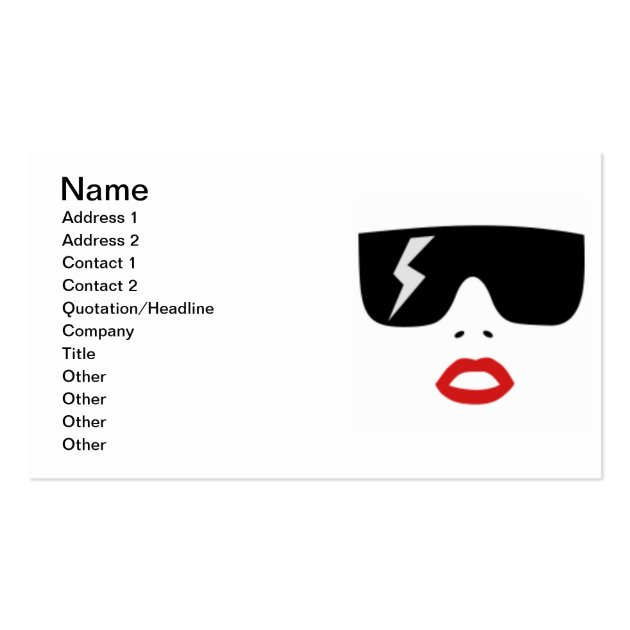 glasses and lips business cards
