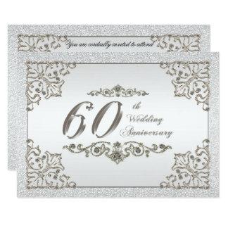 Glitter 60th Wedding Anniversary Invitation Card