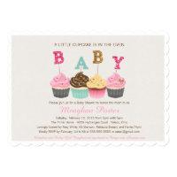 Glitter Baby Shower Invitation - Cupcake Shower