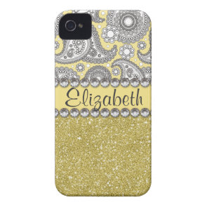 Glitter Paisley Rhinestone Print Pattern iPhone 4 Covers