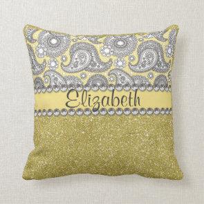 Glitter Paisley Rhinestone Print Pattern Throw Pillow