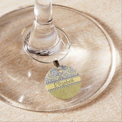 Glitter Paisley Rhinestone Print Pattern Wine Glass Charm