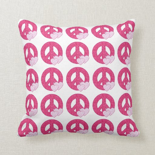 Glitter Peace Sign Throw Pillow  Zazzle