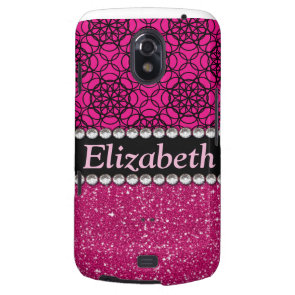 Glitter Pink and Black Pattern Rhinestones Samsung Galaxy Nexus Cover