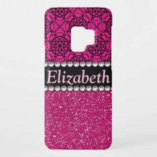 Glitter Pink and Black Pattern Rhinestones Case-Mate Samsung Galaxy S9 Case