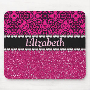 Glitter Pink and Black Pattern Rhinestones Mouse Pad