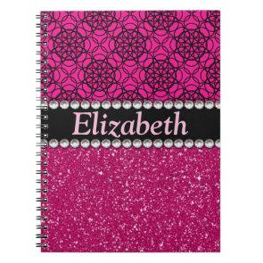 Glitter Pink and Black Pattern Rhinestones Note Book