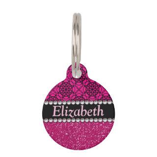 Glitter Pink and Black Pattern Rhinestones Pet ID Tag