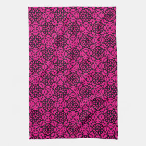 Glitter Pink and Black Pattern Rhinestones Towels