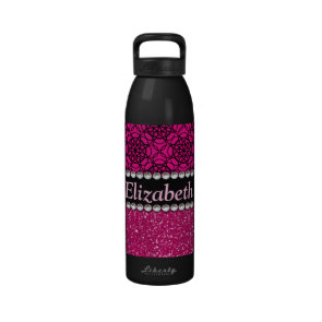 Glitter Pink and Black Pattern Rhinestones Drinking Bottles