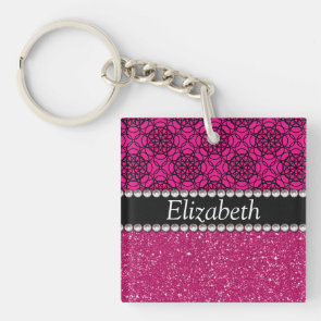 Glitter Pink and Black Pern Rhinestones Acrylic Keychains