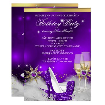 Glitter Purple High Heel Shoes Gold Champagne Invitation