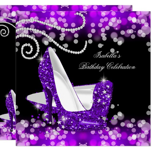 Glitter Purple High Heels Diamonds Birthday Card Zazzle Com