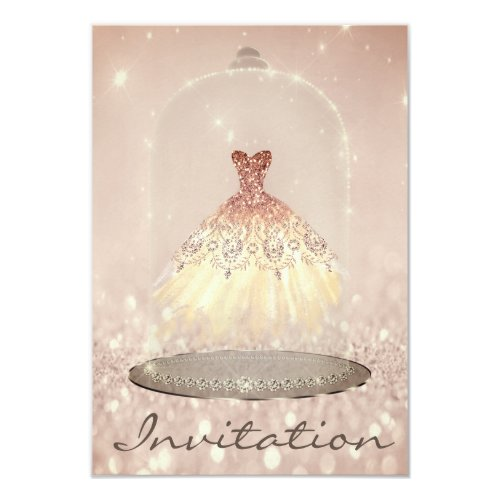 Glitter Rose Gold Diamond Dress Sweet 16th Invitation