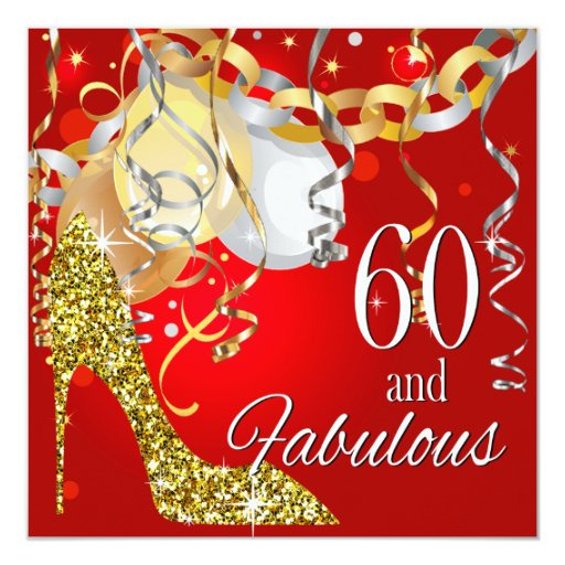 Glitter Stiletto 60th Birthday Red Gold Card Zazzle