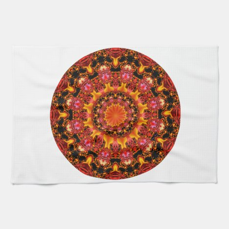 Glittering Gold Mandala, Abstract Red Orange Amber Hand Towel