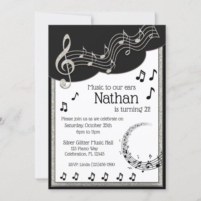 glitzy black white musical notes birthday invitation zazzle com