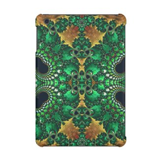 Glossy Green Gold Trippy Fractal Pattern iPad Mini Retina Cover