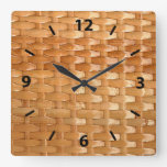 Glossy Wicker Basketweave Texture Look Square Wallclocks