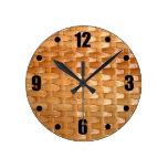 Glossy Wicker Basketweave Texture Look Round Clocks