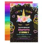 Glow in the dark party unicorn girl birthday invitation