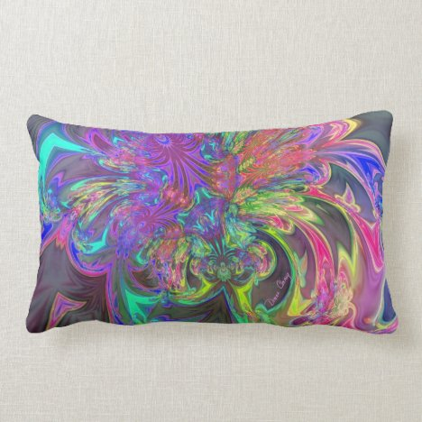 Glowing Burst of Color – Teal & Violet Deva Lumbar Pillow