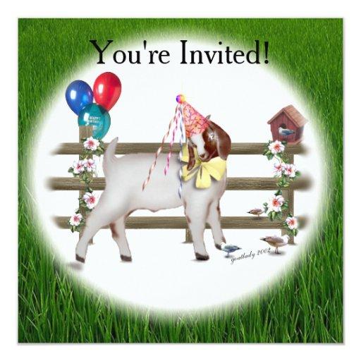 Goat Birthday Party Invitation Zazzle