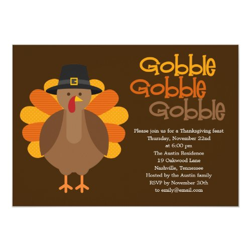 Gobble Gobble Thanksgiving Party Invitation
