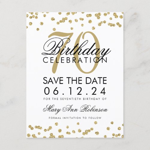 Gold 70th Birthday Save Date Confetti Save The Date