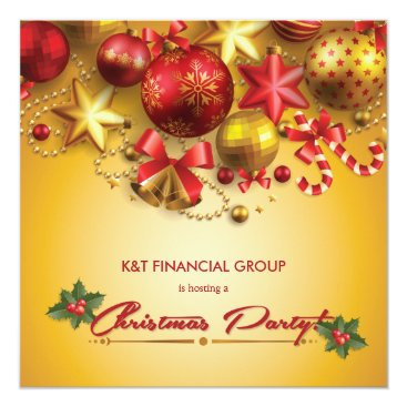 Gold and Red Christmas Ornament Formal Corporate Card