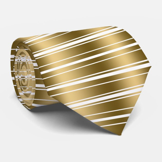 Gold And White Stripes Shiny Look Tie