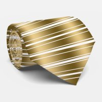 Gold And White Stripes Shiny Look Tie | Zazzle