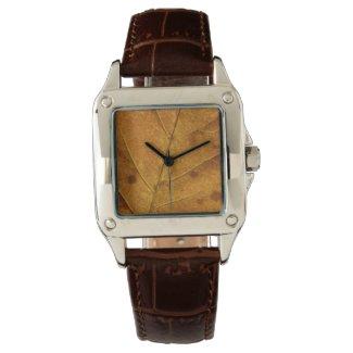 Gold Autumn Leaf & Brown Leather Wrist Watch