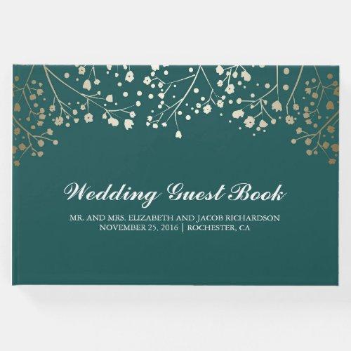 Gold Baby&#39&#x3B;s Breath Floral Elegant Teal Wedding Guest Book